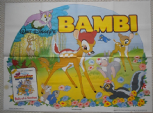 Bambi, UK Quad Poster, Walt Disney Animation, '85